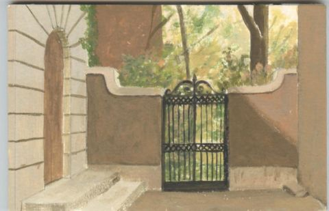 Oil study of Philadelphia courtyard